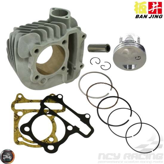 Ban Jing Cylinder 58.5mm Ceramic Nikasil Bore Kit w/Cast Piston Fit 54mm (GY6)