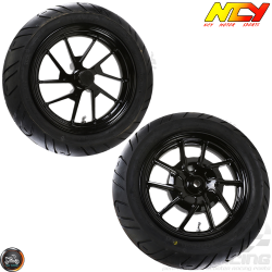 NCY Rim w/Tire Set 12in Black (BWS, Zuma 125)