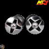 NCY Throttle Grip 7/8in Aluminum Rhinestone Gray Set (GY6, Ruckus, Universal)