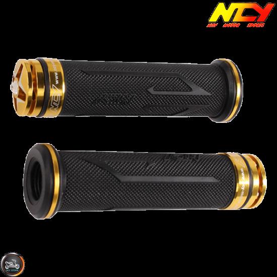 NCY Throttle Grip 7/8in Aluminum Rhinestone Gold Set (GY6, Ruckus, Universal)