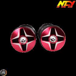 NCY Throttle Grip 7/8in Aluminum Rhinestone Red Set (GY6, Ruckus, Universal)