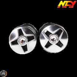 NCY Throttle Grip 7/8in Aluminum Rhinestone Silver Set (GY6, Ruckus, Universal)