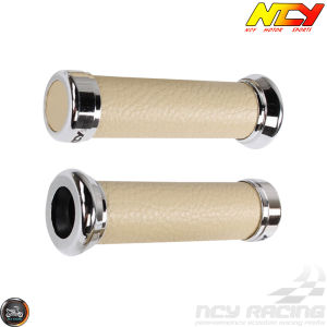 NCY Throttle Grip 7/8in Simulated Leather Ivory Set (GY6, Ruckus, Universal)