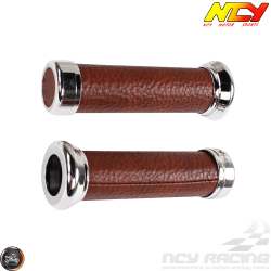 NCY Throttle Grip 7/8in Simulated Leather Brown Set (GY6, Ruckus, Universal)
