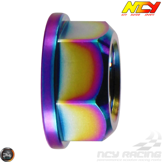 NCY Rear Axle Nut M16 Electroplated Titanium (QMB, GY6, Universal)