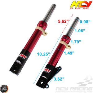 NCY Front Fork Red Set Disc Type (DIO, Ruckus)
