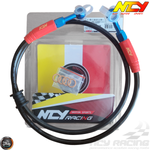 NCY Brake Line Front 110cm Stainless Braided Sealed (QMB, GY6, Universal)