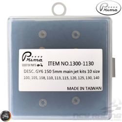 Prima CVK Main Jet 100-140 10-Pcs Kit (139QMB, GY6)