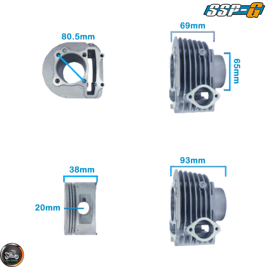 SSP-G Cylinder 63mm 180cc Big Bore Kit w/Cast Piston Fit 57mm (GY6)