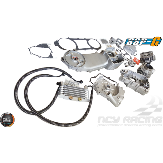 SSP-G Crankcase 63mm 180cc 2V Big Bore Power Kit w/Oil Cooler (GY6 longcase)
