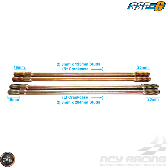 SSP-G Cylinder Stud 196mm 204mm 2V Set (GY6)